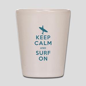 Keep Calm and Surf On Shot Glass