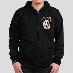 Pomeranian head dog art Zip Hoodie (dark)