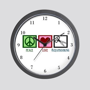 Peace Love Scrapbooking Wall Clock