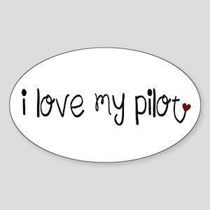 I Love my Pilot Oval Sticker