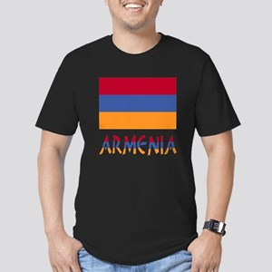 Armenia Flag & Word Men's Fitted T-Shirt (dark)