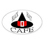 Black Hat Cafe Oval Sticker