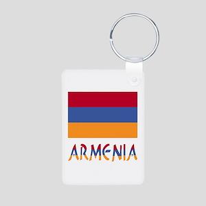 Armenia Flag & Word Aluminum Photo Keychain