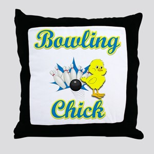 Bowling Chick #2 Throw Pillow