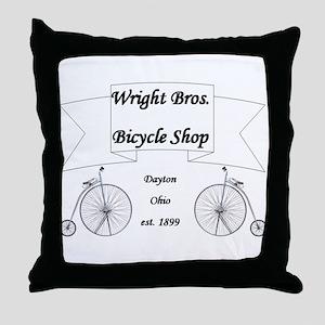 Wright Bros. Cycle Shoppe Throw Pillow