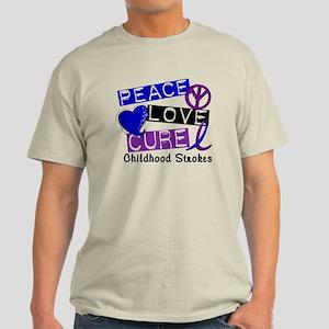 Peace Love Cure Childhood Strokes 1 Light T-Shirt