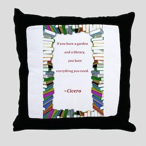 A Garden and A Library Throw Pillow