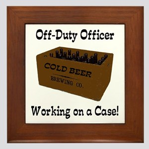 Officer Working on a Case! Framed Tile