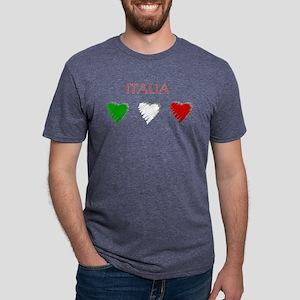 Italia Hearts Mens Tri-blend T-Shirt