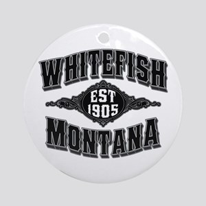 Whitefish 1905 Black & Silver Ornament (Round)