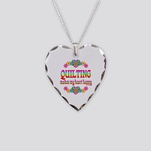 Quilting Happy Necklace Heart Charm