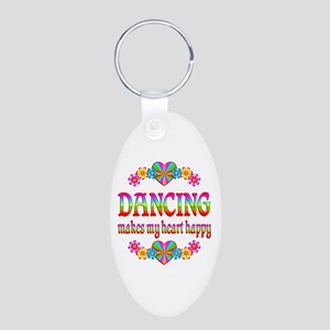 Dancing Happy Aluminum Oval Keychain
