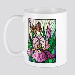 Stained Glass Iris & Butterfly Mug