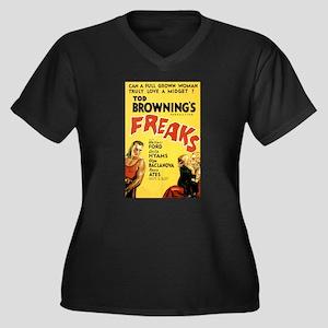 Freaks Women's Plus Size V-Neck Dark T-Shirt