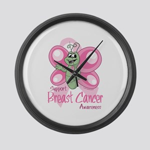 Breast Cancer Cute Butterfly Large Wall Clock
