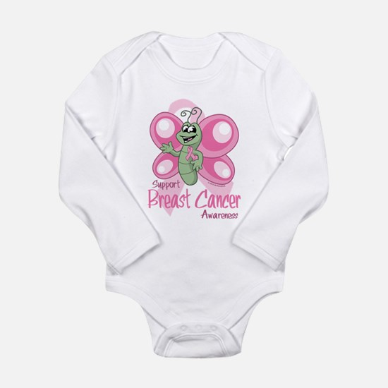 Breast Cancer Cute Butterfly Long Sleeve Infant Bo