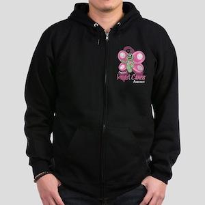 Breast Cancer Cute Butterfly Zip Hoodie (dark)