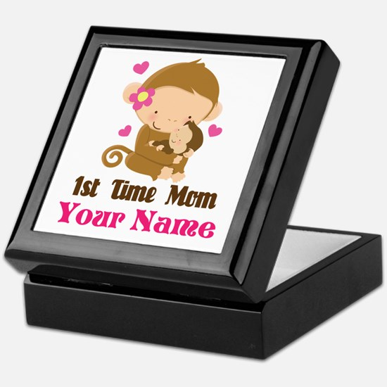 Personalized 1st Time Mom Monkey Keepsake Box