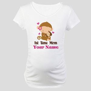 Personalized 1st Time Mom Monkey Maternity T-Shirt