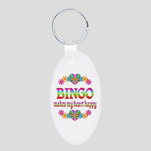 BINGO Happy Aluminum Oval Keychain