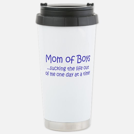 Mom of Boys Stainless Steel Travel Mug