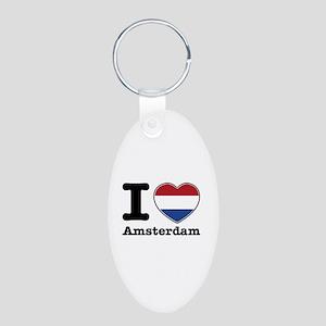 I love Amsterdam Aluminum Oval Keychain