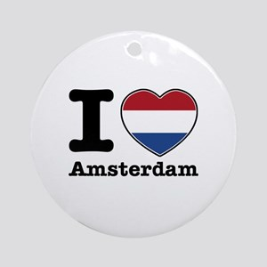 I love Amsterdam Ornament (Round)