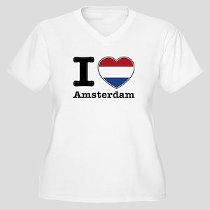 I love Amsterdam Women's Plus Size V-Neck T-Shirt