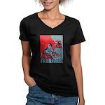 Frabjous Women's V-Neck Dark T-Shirt