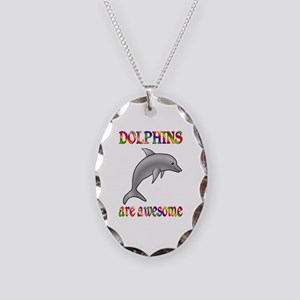 Awesome Dolphins Necklace Oval Charm