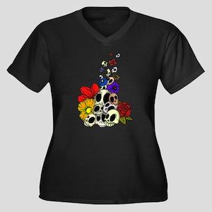 SkullsFlowers_Shaded Plus Size T-Shirt