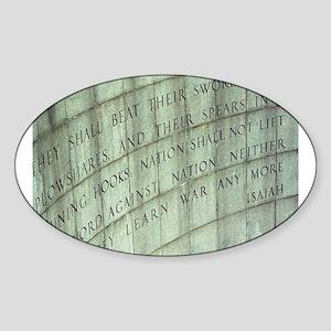 Isiah (No More War Sticker (Oval)