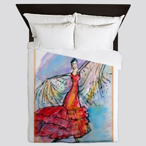Flamenco Dancer, art, bright, Queen Duvet
