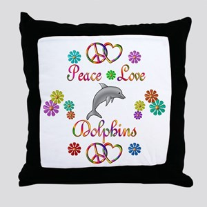 Peace Love Dolphins Throw Pillow