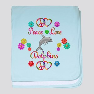 Peace Love Dolphins baby blanket
