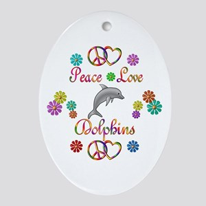 Peace Love Dolphins Ornament (Oval)