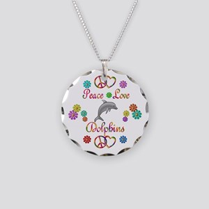 Peace Love Dolphins Necklace Circle Charm