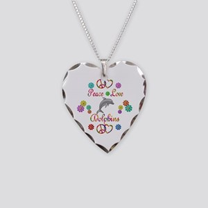 Peace Love Dolphins Necklace Heart Charm