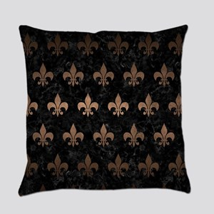ROYAL1 BLACK MARBLE & BRONZE METAL Everyday Pillow