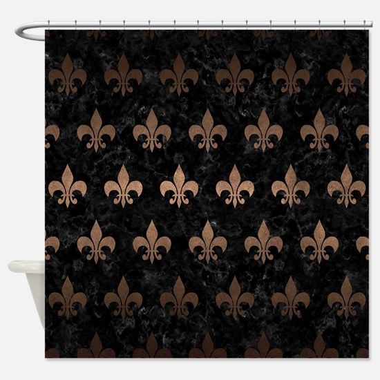 ROYAL1 BLACK MARBLE & BRONZE METAL Shower Curtain
