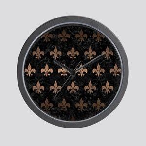 ROYAL1 BLACK MARBLE & BRONZE METAL (R) Wall Clock