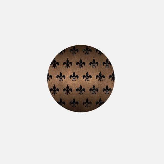 ROYAL1 BLACK MARBLE & BRONZE METAL Mini Button