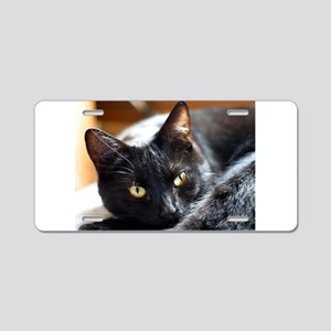 Sleek Black Cat Aluminum License Plate