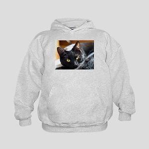 Sleek Black Cat Kids Hoodie