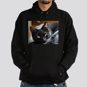 Sleek Black Cat Hoodie (dark)