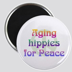 """Aging Hippies for Peace 2.25"""" Magnet (10 pack)"""