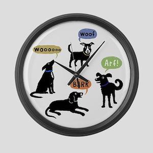 Woof Arf Bark Large Wall Clock