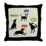 Woof Arf Bark Throw Pillow