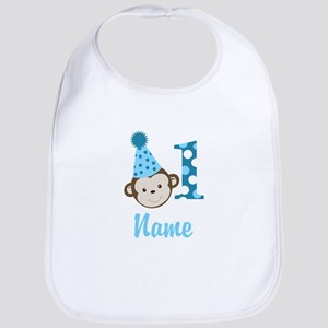 Cute Monkey 1st Birthday Add A Name Baby Bib