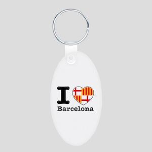 I love Barcelona Aluminum Oval Keychain
